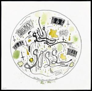 Slug Text Drawings (series of over 40 drawings),