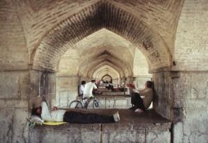 Under the Khaju bridge,